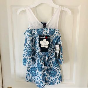 NWT LIMITED TOO blue printed cold shoulder romper